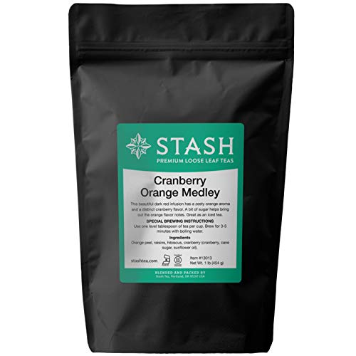 Stash Tea Loose Leaf Fruit Tea Cranberry Orange Medley 1 Pound Pouch Loose Leaf Premium Herbal Tea for Use with Tea Infusers Tea Strainers or Teapots, Drink Hot or Iced, Sweetened or Plain