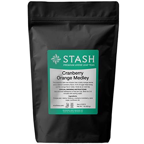 Stash Tea Loose Leaf Fruit Tea Cranberry Orange Medley, Loose Leaf Herbal Tea,  1 Pound Pouch