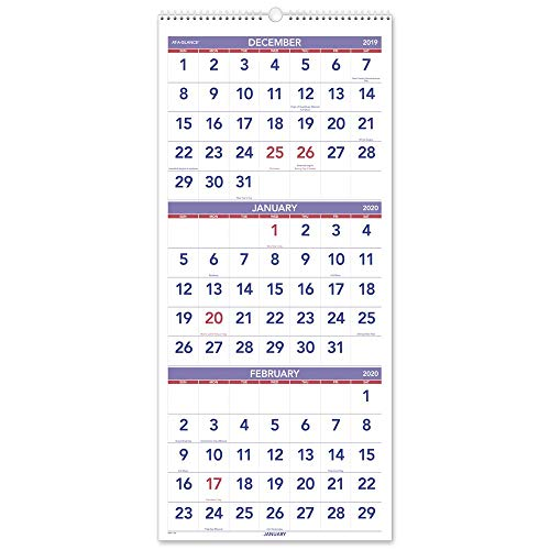 "AT-A-GLANCE 2020 Wall Calendar, 3-Month Display, 12"" x 27"", Large, Wirebound, Vertical (PM1128)"
