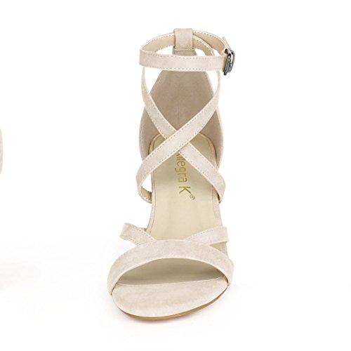 Ankle Sandals Beige Crisscross K Women's Strap Allegra UqtgzU