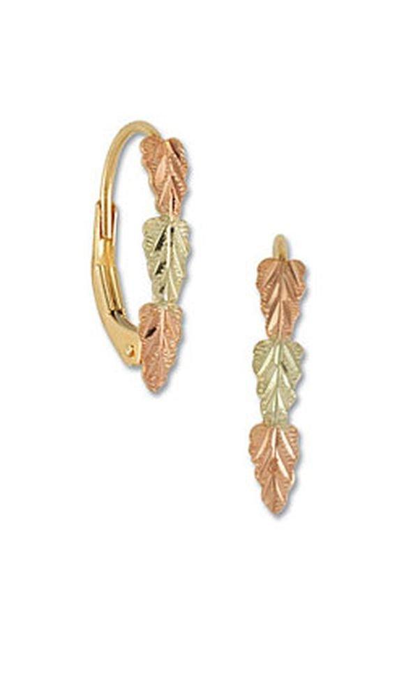 Landstroms 10k Black Hills Gold Leverback Earrings with Leaves - ER373