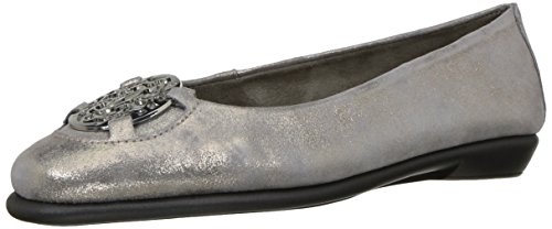 Aerosoles Women's Exhibet Ballet Flat, Silver Suede, 7.5 W US (Wide Stitch)