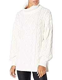 Women's Blanche Oversized Side Slit Cable Stitch Turtleneck Sweater