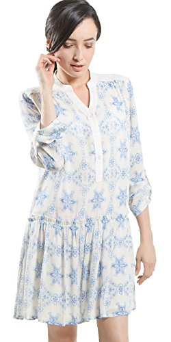 Amangny Women's Bohemian Peasant Tunic Shirt Dress Medium - Dress Drop Tunic Waist