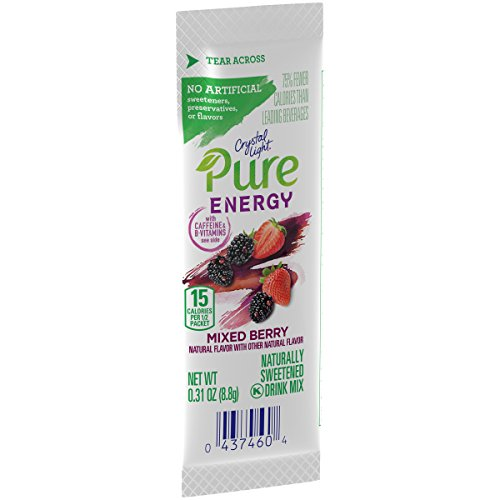Crystal Light Pure Energy On The Go Mixed Berry Drink Mix, 6 Count, 1.87 Ounce (Pack of 8)