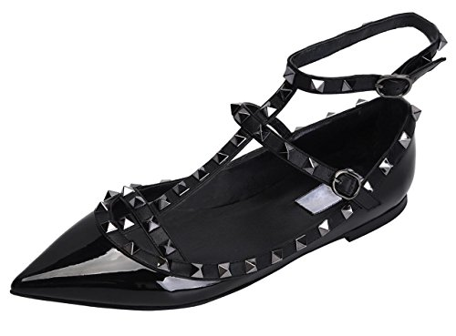 Jiu du Women's Sexy Ankle Strap Flats Shoe Pointed Toe Fashion Rivets Party Dress Shoes Black Patent PU Size US8.5 EU42 (Toe Black Flats Peep Patent)