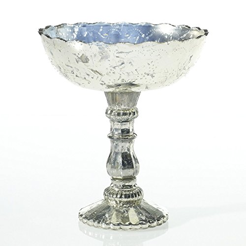 Mercury-Glass-Compote-Dish-Bowl-Centerpiece-with-Pedestal-8-x-925-inches