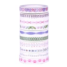 SODIAL(R) 10Pcs/set 8mmx10m fresh style japanese Heart washi tape for decoration