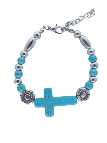 (Nick Angelo's Christian Cross Bracelet Jewelry Vintage Look Versatile Design Created Turquoise Adjustable )