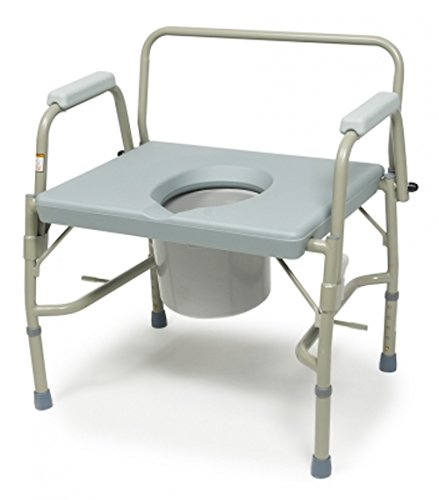 Bariatric Drop-Arm Bedside Commode by Pivit - 3 in 1 Toilet Chair - Extra Wide - Heavy Duty Bathroom Seat Bucket Pail Fits Standard Liners - 600 lbs Weight (Standard Drop Arm Commode)