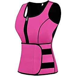 Mpeter Sweat Vest for Women, Slimming Body Shaper, Weight Loss, Pink L