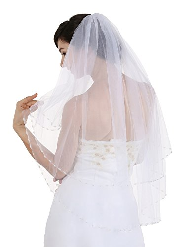 "2T 2 Tier Crystal Pearl Beaded Edge Bridal Wedding Veil - White Fingertip Length 36"" V306"