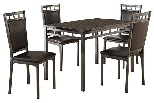 Homelegance 5 Piece Olney Dinette Set with Faux Marble Top, ()