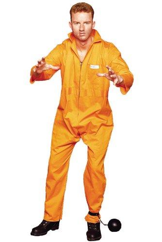 Escape Convict Adult Costume (Jailbird Plus Size Halloween Costume)