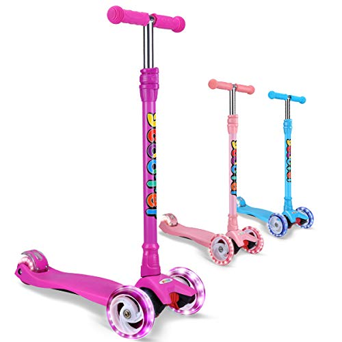 OUTON Kick Scooter for Kids 3 Wheel Lean to Steer Adjustable Height PU 4 LED Flasing Wheels Purple