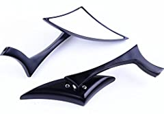 YOU'VE GOT TO GET THESE SUPER COOL BLACK BLADE SIDE VIEW MIRRORS (2 included) for your motorcycle, street bike, standard or naked, cruiser, or chopper. They'll know you've arrived when you pull up with these black blade mirrors that practical...