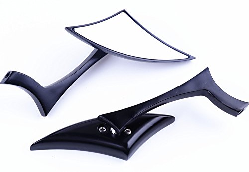 XYZCTEM Modern Stylish Custom Black Side Review Mirrors for Motorcycle, Street Bike, Naked Bike, Cruiser, Chopper(8mm and 10mm adapters)-Pair Custom Black Motorcycle