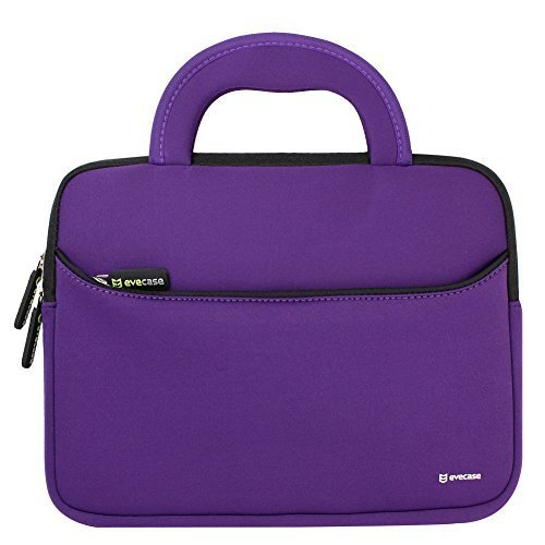 8.9 - 10.1 inch Tablet Sleeve, Evecase 8.9 ~ 10.1 inch Ultra-Portable Neoprene Zipper Carrying Sleeve Case Bag with Accessory Pocket - Purple /Black