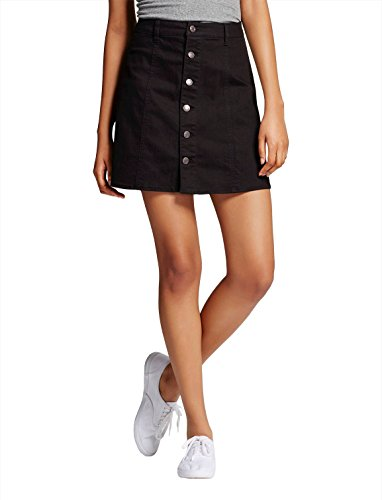 Mossimo Women's Mid Rise Button Front A Line Skirt Black Size 16 (Mossimo Skirt Denim)