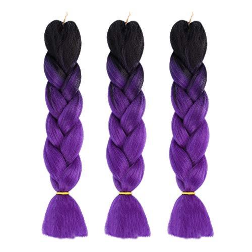 Jumbo Braids Hair Extension 3pcs Ombre Synthetic Kanekalon Fiber for Crochet Box Braiding, 26inches 100g/pcs (black/dark purple) ()
