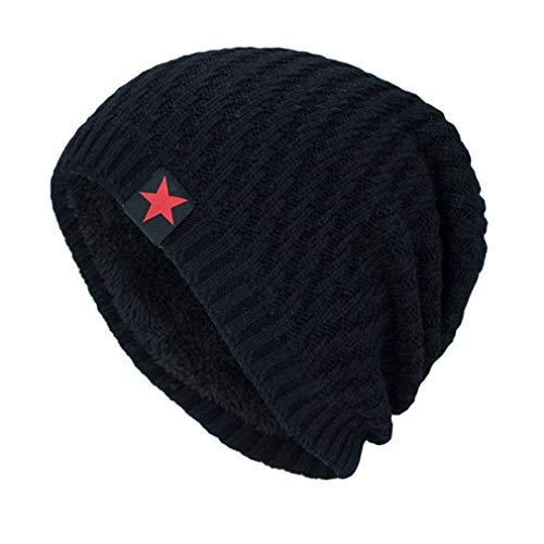 Cachemira Slouch de de Invierno de Además de Moda Puntas Sombreros Negro Sombrero Cálido Decoración Beanie Cinco Grueso nUx5qwq8Fz