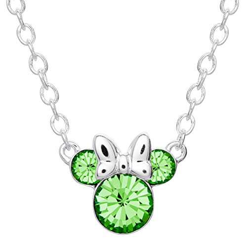 Disney Minnie Mouse Crystal Birthstone Silver Plated Pendant Necklace August, August Peridot Light Green