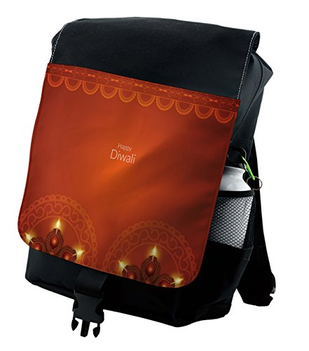 Lunarable Diwali Backpack, Ethnic Oriental Paisley, Durable All-Purpose Bag by Lunarable