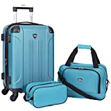 Travelers Club Sky+ Hardside Expandable Luggage Set with Spinner Wheels, Teal, 3 Piece