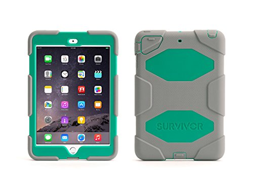 Griffin Grey/Green Survivor All-Terrain Case + Stand for iPad mini, mini 2 and mini 3 - Military-duty case with stand- Touch - Grey Case