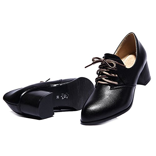 SJJH Leisure Court Shoes with Pointed Toe and Mid Chunky Heel Women Lace up Women Casual Shoes with Large Size Black cce3rr