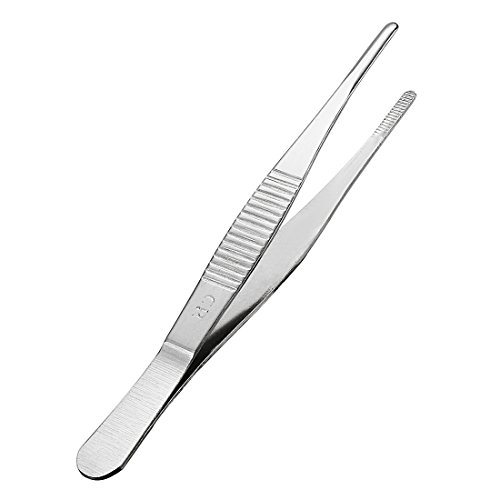uxcell 1 Pcs 5-Inch Stainless Steel Straight Blunt Tweezers with Serrated Tip