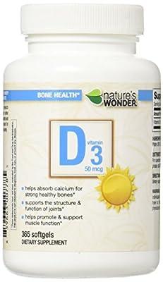 Nature's Wonder Vitamin D3 50mcg 2000IU Soft Gels, 365 Count
