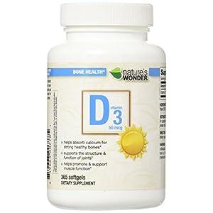Gut Health Shop 417Z9piKqSL._SS300_ Nature's Wonder Vitamin D3 50mcg (2000IU) Soft Gels, 365 Count