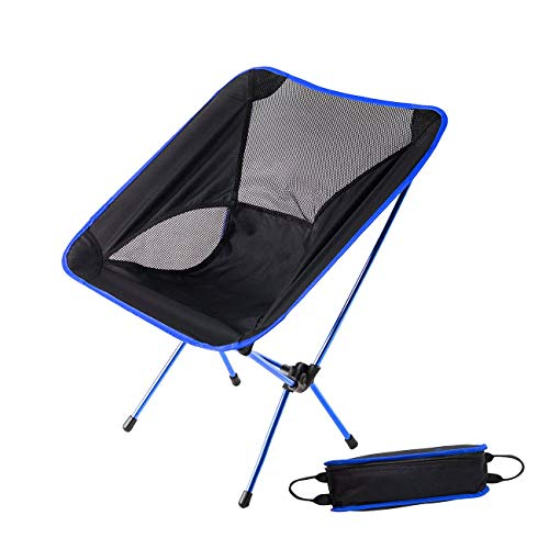 (HASLE OUTFITTERS Camping Chair Portable Folding Ultralight Chair Backpacking Lightweight Outdoor Chair for Travel Picnic Hiking Beach Fishing Dark Blue )