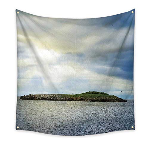 al Tapestry Bird Covered Island Under Dramatic Sky 47W x 47L Inch ()
