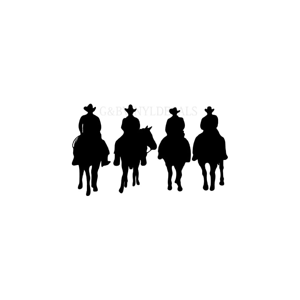COW BOYS WESTERN HORSES HORSE RIDERS SILHOUETTE WALL LETTERING VINYL DECAL LARGE SIZE