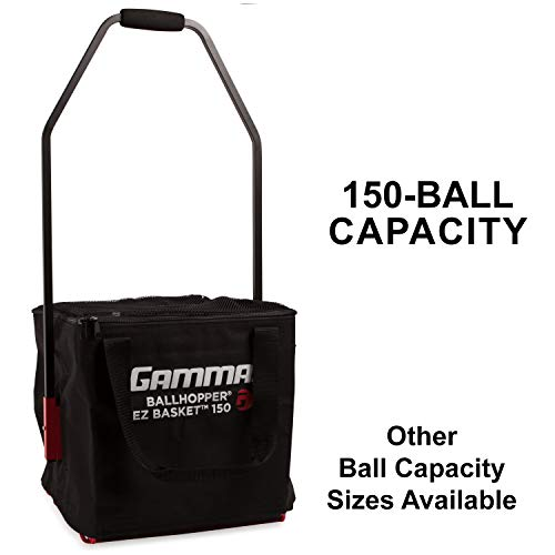 (Gamma Ballhopper Premium EZ Tennis Travel Cart 150 & EZ Ball Basket - Portable & Compact Tennis Court Accessory, Sturdy & Lightweight Design, Foldable Cart, Holds 150 Balls, Carrying Case Included)