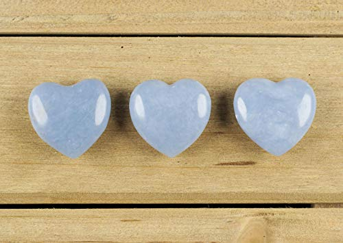 ThrowinStones Blue ANGELITE Heart Shaped Crystal - One Genuine Natural Angelite Polished Heart Stone, Crystals and Healing Stones E0163