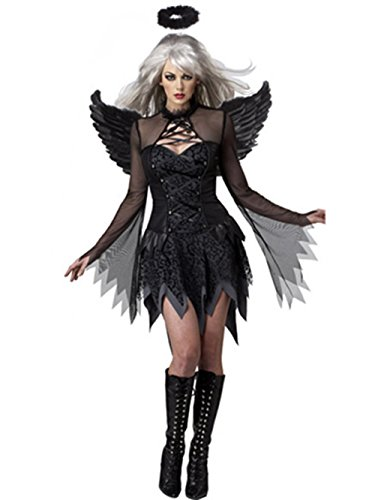 Zando Women's Cosplay Angel Party Halloween Fancy Dress Costume Black One Size (Holloween Gangster Costume Children)
