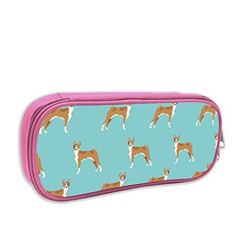 Basenji Ornaments - Basenji Standing Pure Breed Dog Fabric Blue_913 PencilCase,BigCapacityPenBagMakeupPouchDurableStudentsStationeryPouchZipperClosure