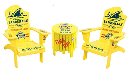 "Adirondack Chair Set with Outdoor Side Table with Ice Bucket | Margaritaville Painted Wood LandsharkLager Logo with Shark Bite Adirondack Chair (Set of 2) + Outdoor Landshark ""Fins Up"" Ice Bucket S"