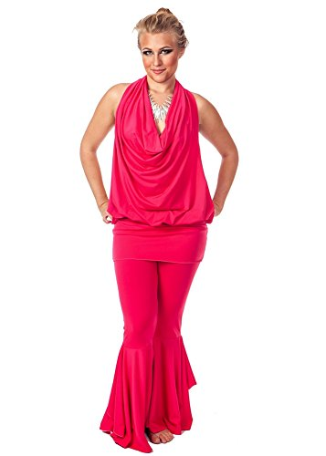 Belly Dance Lyrca Pants and Top Costume Set Sorraian's Star (FUSCHIA, EXTRA LARGE) (Belly Dance Costumes Large Ladies)