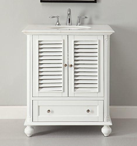 30 Cottage Look White Keysville Bathroom Sink Vanity Model GD-1087W