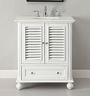 Charming 30u201d Cottage Look White Keysville Bathroom Sink Vanity Model # GD 1087W