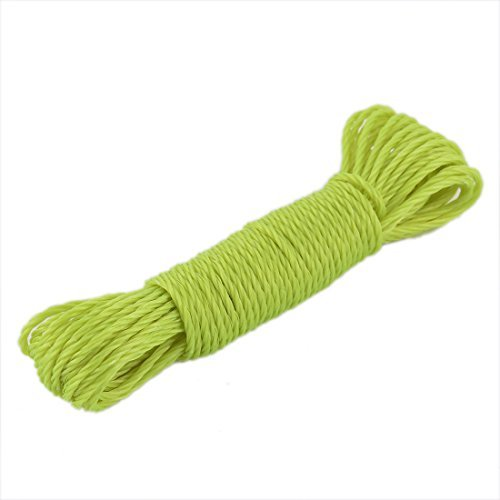 DealMux Nylon Laundry Drying Rope Twisted Clothesline Clothes Hanging String Line 10M 33ft Yellow