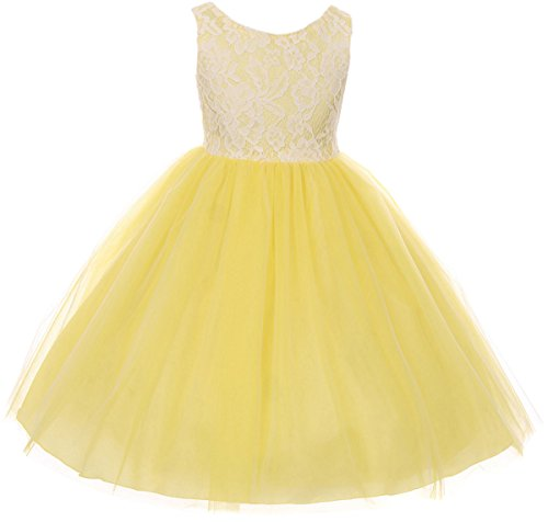 Big Girl Sleeveless Lace Bodice Illusion Tulle Easter Flower Girl Dress USA Yellow 10 KD 414