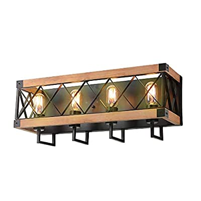 Eumyviv Rustic Wood Wall Lamp with Mesh Cage Industrial Wall Sconce, Retro Bathroom Lamp Log Cabin Home Vintage Edison Sconce Light Fixture 4-Lights, Brown (W0060)