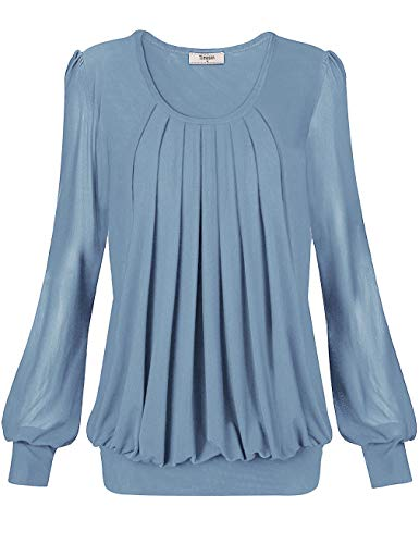 Woman Blouses And Tops,Timeson Womens Floral Tops And Blouses Banded Bottom Fitted Tunics Tops Pleated Front Ladies Long Sleeve Collar Blouse Career Shirt Office Dressy Maternity Tops Blue Gray Medium Banded Collar Long Sleeve Work Shirt