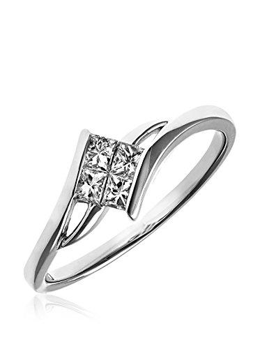 Revoni - Bague de fiançailles en or blanc 18 carats et diamants
