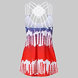 VIASA Fashion Womens Patriotic Bandages Sleeveless Vest Strappy Lace American Flag Print Tank Tops (S, Red)